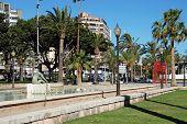 Rower statue in pool, Almeria.