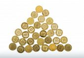 Ten Agorot Coins Israeli Bank .