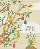������, ������: Easter Greeting Card With Colorful Eggs On Branches