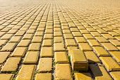 Yellow Brick In Pavement, One Is Standing Out