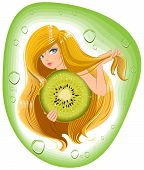Girl with long hair holds an kiwi fruit. Template label for packing shampoo