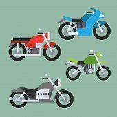 Flat Design Of Motorcycle Set