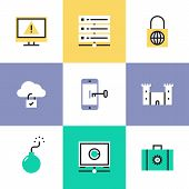 Cloud Security Pictogram Icons Set