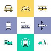 stock photo of passenger train  - Flat line icons of various city transport public transportation movement carriage passenger by rail and air travel - JPG