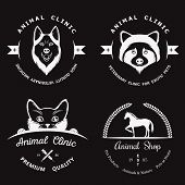 pic of petting  - Set of vintage logo elements for pet shop pet house pet and exotic animals clinic - JPG