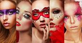 Set Of Women's Faces With Bright Make Up
