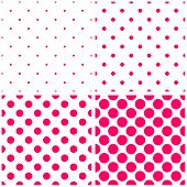 Tile vector pattern set with pink polka dots on white background