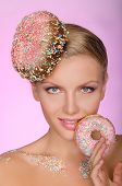 Charming Woman With Creative Hairstyle From Donut