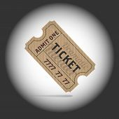 Old teathre ticket in projector light
