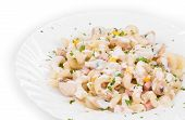 pasta cavatappi with vegetables and sausage