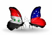 Two Butterflies With Flags On Wings As Symbol Of Relations Syria And Samoa