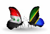 Two Butterflies With Flags On Wings As Symbol Of Relations Syria And Tanzania