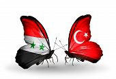 Two Butterflies With Flags On Wings As Symbol Of Relations Syria And Turkey
