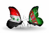 Two Butterflies With Flags On Wings As Symbol Of Relations Syria And Turkmenistan