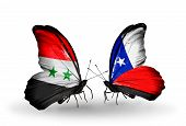 Two Butterflies With Flags On Wings As Symbol Of Relations Syria And Chile