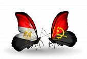 Two Butterflies With Flags On Wings As Symbol Of Relations Egypt And Angola