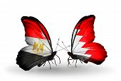 Two Butterflies With Flags On Wings As Symbol Of Relations Egypt And Bahrain