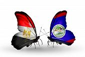 Two Butterflies With Flags On Wings As Symbol Of Relations Egypt And Belize