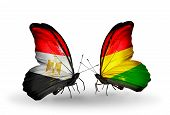 Two Butterflies With Flags On Wings As Symbol Of Relations Egypt And Bolivia