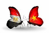 Two Butterflies With Flags On Wings As Symbol Of Relations Egypt And Vietnam