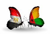 Two Butterflies With Flags On Wings As Symbol Of Relations Egypt And Guinea Bissau