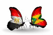 Two Butterflies With Flags On Wings As Symbol Of Relations Egypt And Grenada