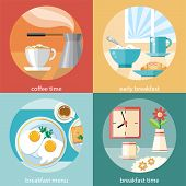 Breakfast time concept icons