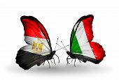 Two Butterflies With Flags On Wings As Symbol Of Relations Egypt And Italy