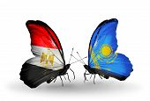 Two Butterflies With Flags On Wings As Symbol Of Relations Egypt And Kazakhstan