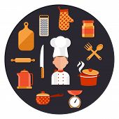 foto of food preparation tools equipment  - Flat design concept icons of kitchen utensils with a chef - JPG