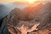 picture of bavarian alps  - Zugspitze is the highest mountain peak in the Wetterstein mountains in the Bavarian alps near Garmisch Partenkirchen - JPG