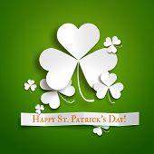 Saint Patricks Day Greeting Vector Card, Realistic Paper Shamrock Leaves