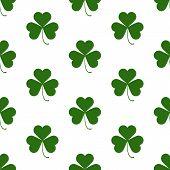 Seamless Pattern With Saint Patricks Day Shamrock Symbols