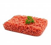 Beef Minced Meat With Parsley On White