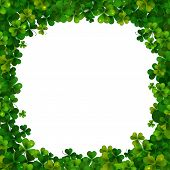 image of saint patrick  - Saint Patricks Day vector background frame with realistic shamrock leaves - JPG