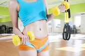 Closeup Of Woman Lifting Two Dumbbells