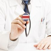 Doctor Holding Stethoscope With Flag Series - Costa Rica