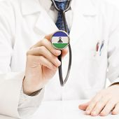 Doctor Holding Stethoscope With Flag Series - Lesotho
