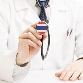 Doctor Holding Stethoscope With Flag Series - Thailand