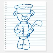 Sketch bear cook on a notebook