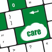 Care Concept With Key On Computer Keyboard Keys, Social Concept