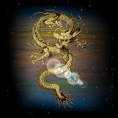 stock photo of claw  - vector illustration Chinese dragon with the planet in its claws - JPG