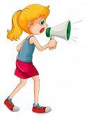 pic of speaker  - Girl speaking through portable speaker - JPG
