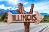 picture of illinois  - Illinois wooden sign with road background - JPG