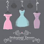 stock photo of composition  - The composition of  three bridesmaid dresses with short skirt - JPG