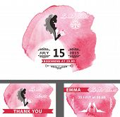 Постер, плакат: Bridal shower template set Bride watercolor pink stain