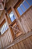 pic of chalet  - Facade of a wooden chalet in a French village - JPG