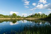 foto of bent over  - White clouds on the blue sky over blue lake with reflections - JPG