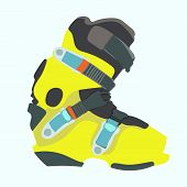 foto of ski boots  - Snowboard carving boot in yellow color  - JPG