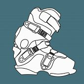image of ski boots  - Snowboard carving boot in lines black and white  - JPG
